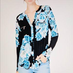 INC Top Lush Floral Print V Neck Aqua New Sz M